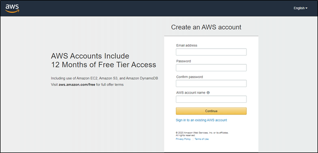 Sign UP page for creating an AWS Account